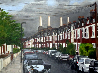 Battersea powerstation from Larkrise road acrylic on canvas