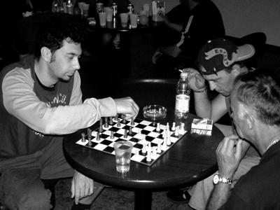 Black and white photo of chess players