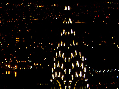 Colour photo of the Chrysler building at night