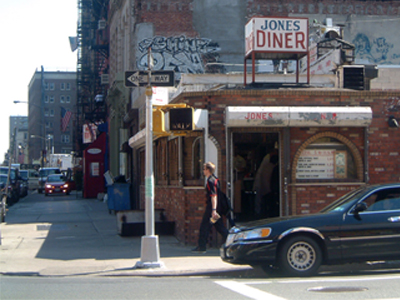 Colour photo of a run down diner in New York