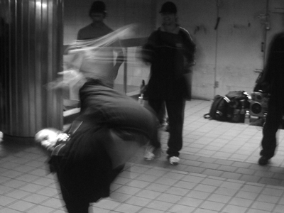 Black and white photo street dancers